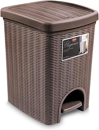 de Trama de 6 litros Cubo de Basura de pl/ástico con Pedal takestop/® Cesta de ba/ño o Cocina Color Blanco Papelera para residuos entrelazada