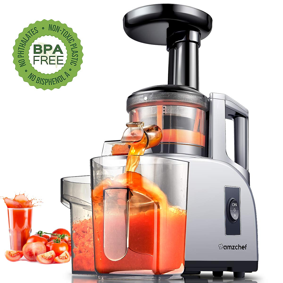 Slow Masticating Juicer Extractor Professional Machine with Quiet Motor//Reverse Function//Easy to Clean with Brush for Fruit /& Vegetable Juice AMZCHEF Juicer Renewed
