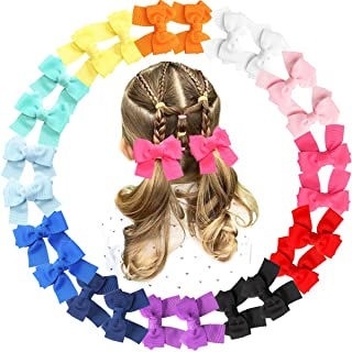 "JOYOYO 24PCS 3.5"" Pinwheel Hair Bows Grosgrain Ribbons Bows With Alligator Hair Clips Hair Accessories for Baby Girls Todd..."