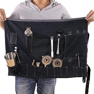 Bartender Kit Roll Bag, Portable Large Bar Case Bag, Bartender Travel Bag for Cocktail Kits, Home and Workplace Cocktail Making Denim Bag for Travel (Not Include Tools)