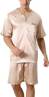 Pijamas para Hombre Satén, Hombre Corto Primavera Verano, Hombre Camisones Pijamas de Parejas, Manga Corta y Bajos, Cuello en V con Bolsillo