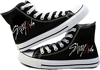 JUNG KOOK Kpop Stray Kids Sneakers Jisung Felix Minho I AM NOT Black Canvas Shoes