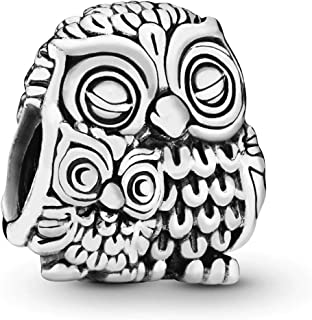 Jewelry - Mother Owl and Baby Owl Charm in Sterling Silver