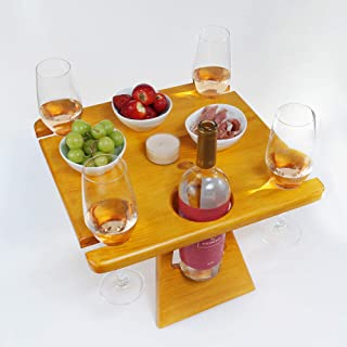 Botellero de madera para picnic mesa de picnic para cuatro personas con cómoda maleta idea de regalo para vino amante...