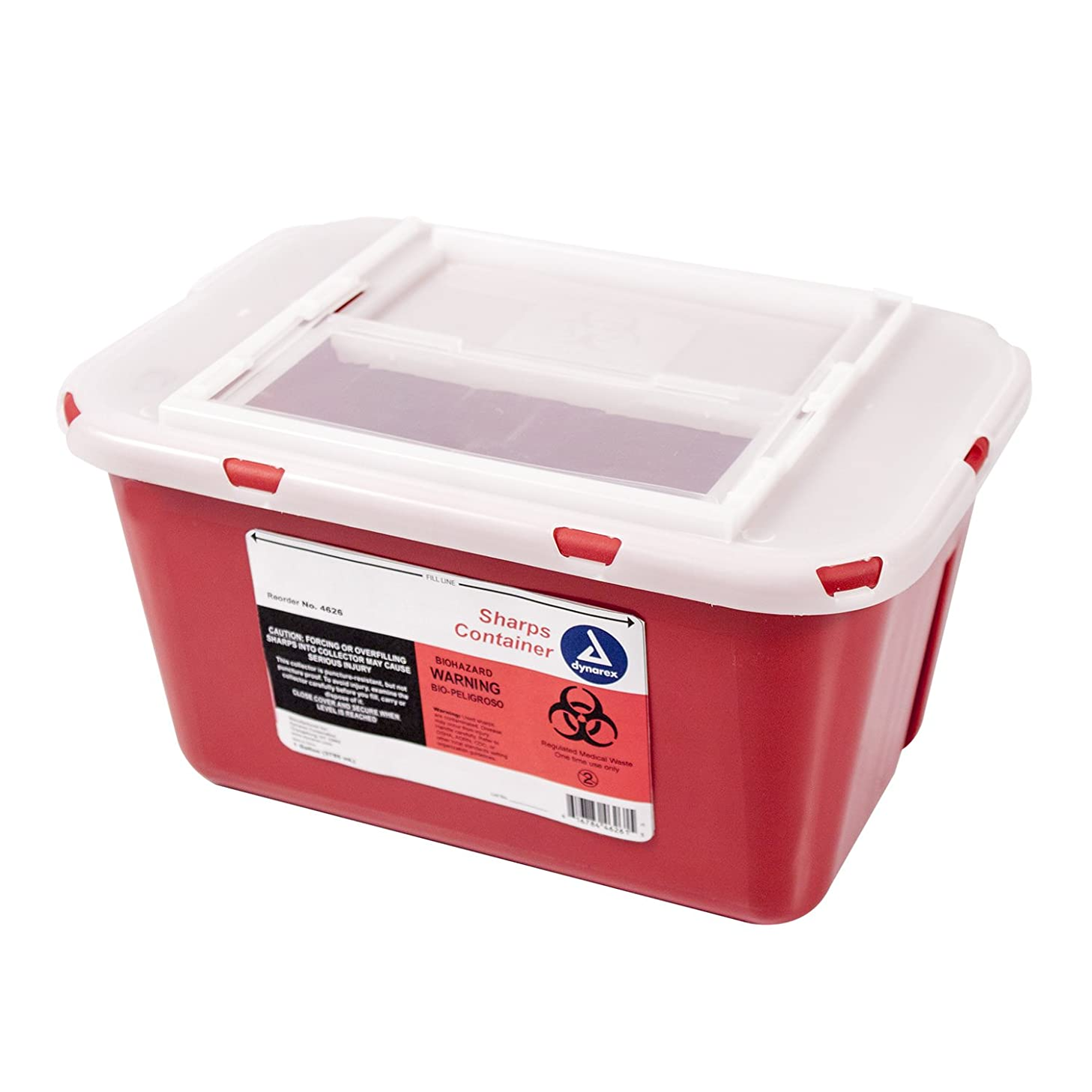 Dynarex Sharps Container - Biohazard Multiple-Use Needle Disposable - Puncture Resistant - One Handed Use - 1 Gallon
