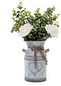 MiaTen Metal Flower Vase Heart Print Milk Can Rustic Style with Fake White Rose and Berry Leaf Floral Flower Arrangement in Shabby Chic Vase for Rustic Home Dining Table Centerpiece Windowsill Decor