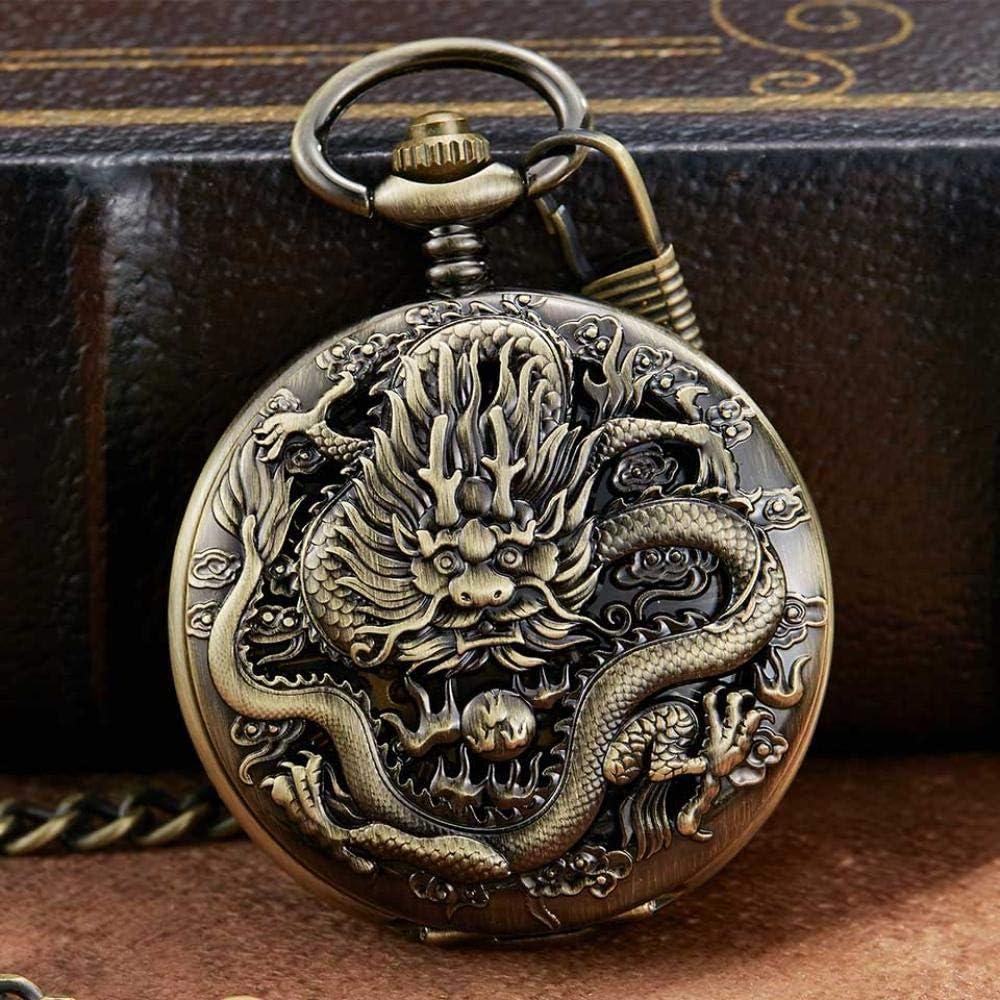 LEYUANA Reloj de Bolsillo mecánico de Plata de Lujo, Reloj Grabado de dragón Collar de Animales Colgante Reloj de Cuerda Manual Reloj de Cadena para Hombre