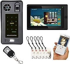 Timbre De Video Wifi, Desbloqueo De La APP De Huellas Dactilares De Contraseña Videoportero Intercomunicador, Monitor De 7...
