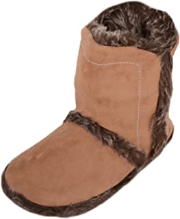 ABSOLUTE FOOTWEAR Womens Slip On Bootie Slippers/Shoes with Faux Fur Inners and Trim