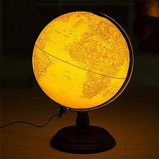 25cm/10 Inch LED Desk Rotating World Globe Lamp Kids School Home Office Geography Earth Map LED Night Light Lamp