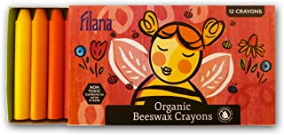 FILANA (12 Stick Crayons) Organic Beeswax Stick Crayons, Natural, Non Toxic, Safe for Children, Handmade in The US, No Paraffin or Petroleum Waxes, Rich Colors, Glide Easily