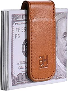Slim Magnetic Money Clip Genuine Leather Business Card Holder for Men