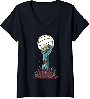 Womens Zombie Hands Volleyball Funny Halloween Horror Scary Costume V-Neck T-Shirt
