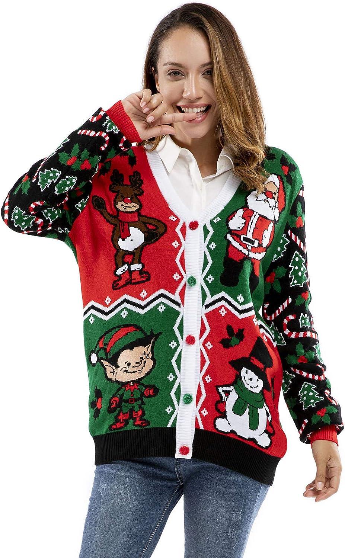 Herren Weihnachtspullover Strickjacke Unisex H/ässliche Pulli Lustig Strickpullover Ugly Weihnachtspulli mit weihnachtlichen Motiven f/ür Damen Herren Weihnachtsparty