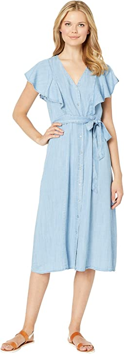 Sleeveless Ruffle Front Belted Lyocell Dress