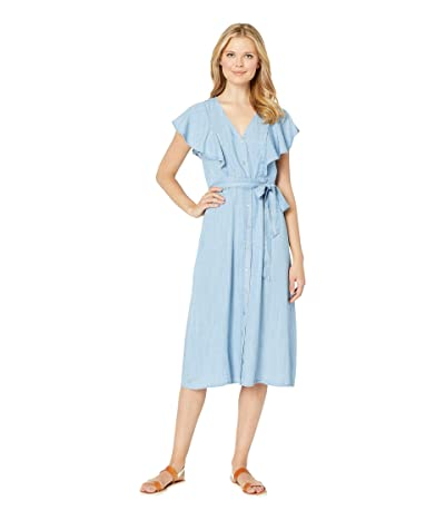 TWO by Vince Camuto Sleeveless Ruffle Front Belted Lyocell Dress (Bayside Wash) Women