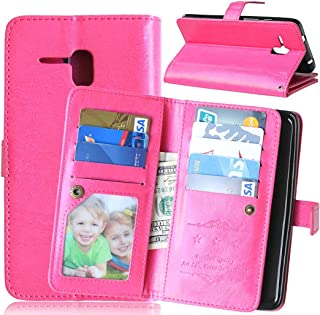 Fierce XL Case ALCATEL ONE TOUCH Fierce XL Case,Bat King [Multi Card Wallet] Premium PU Leather Wallet with Built-in 9 Card Slots Folio Flip Case for ALCATEL ONE TOUCH Fierce XL(Hot Pink)