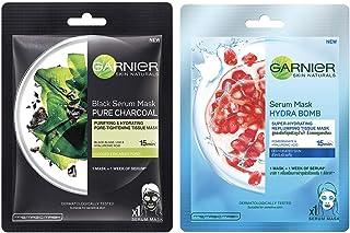 Garnier Skin Naturals, Charcoal, Face Serum Sheet Mask (Black), 28g & Garnier Skin Naturals, Hydra Bomb, Face Serum Sheet ...