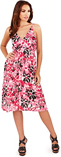 Pistachio Womens Red Or Blue Spotted Aztec Print Strappy Knee Length Dress