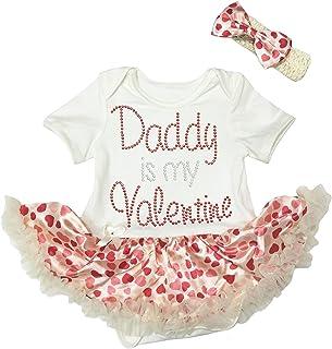 Petitebella Baby Girls' 1St Valentine Heart White Bodysuit Red Sequins Tutu