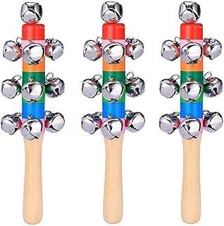 Cascabeles de trineo de mano, 3 piezas, sonajeros de madera para bebé, cascabeles de color arco iris, cascabeles para bebé...