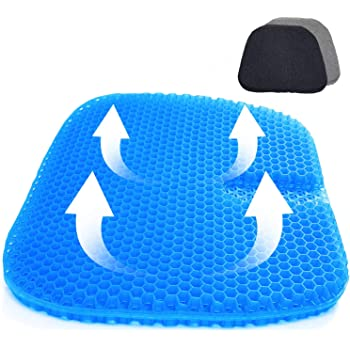 Gel-Seat-Cushion-Office-Chair-Sitting-Cushion,SUPTEMPO Double Layer Design Seat Cushion with Nonslip Cover Breathable Honeycomb Pain Relief Sitting Cushion for Office Chair Car Wheelchair (Blue)