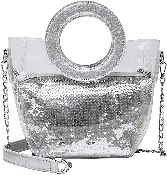 INS Bags Hot Sale TOTOD Sequins Colorful Waterproof Transparent Messenger Chain Handbag Best Gifts For Girl Friend