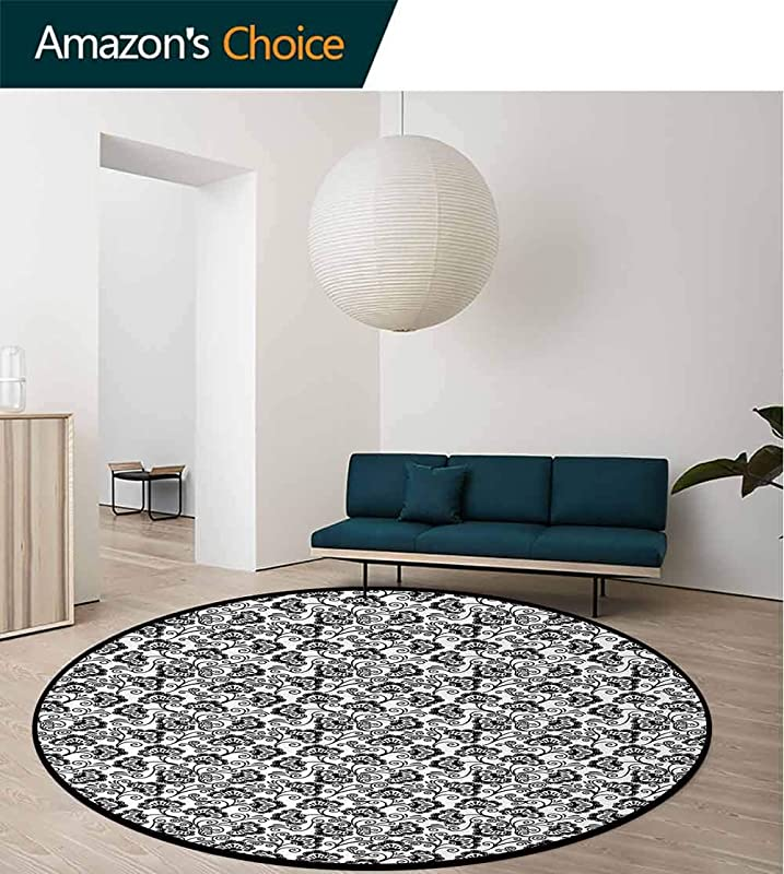 Black And White Carpet Gray Round Area Rug Monochrome Flowers With Dots And Swirled Lines Flourishing Nature Design Pattern Floor Seat Pad Home Decorative Indoor Diameter 24 Inch Black White