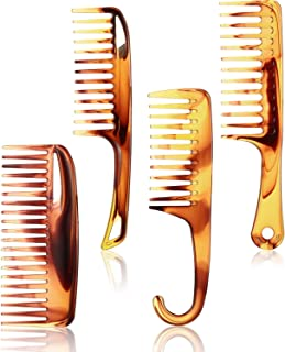 4 Pieces Wide Tooth Comb Detangler Comb Shower Comb Detangling Hair Comb with Hook, Anti-static Large Big Tooth Comb Set f...