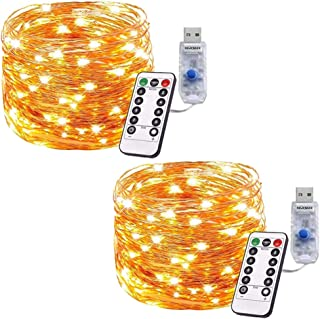Gluckluz Decoration Lights 200 LED String Lighting Indoor 20M Copper Wire Warm Fairy Light with Remote Control 8 Modes for...