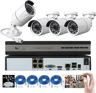 DIDSeth Kit de Videovigilancia PoE 4 Canales 1080P DVR y 4 Cámaras de Seguridad 1080P HD Sistema de Vigilancia con Visión Nocturna Detección de Movimiento Distancia de Transmisión Hasta 150m
