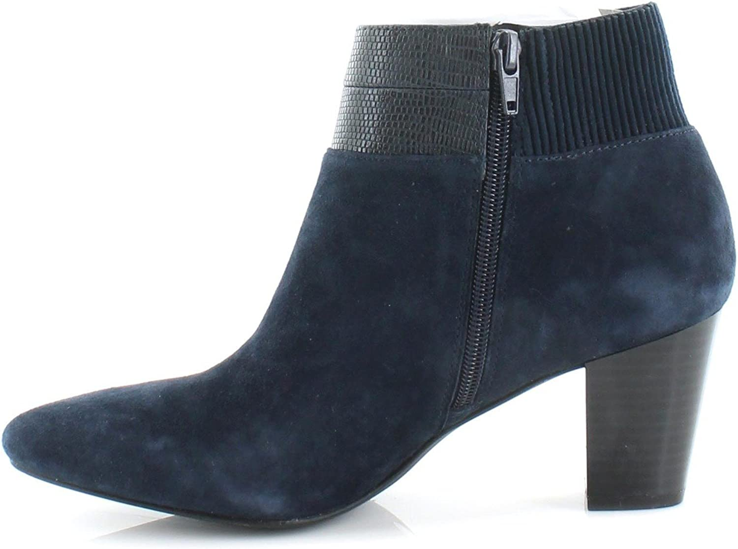Alfani Womens Palessa Suede Almond Toe Ankle Fashion Boots, Ink, Size 5.0