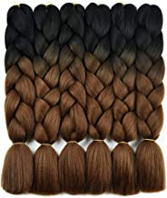 Ombre Braiding Hair Kanekalon Braiding Hair Synthetic Hair Extensions for Braiding Crochet Twist Box Braids 24 Inch 2 Tone Black to Deep Brown 6 Packs Jumbo Braiding Hair