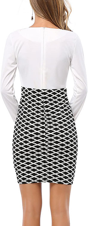 Nimpansa Women Deep V-Neck Scoop Patchwork Surplice Mini Pencil Work Dress