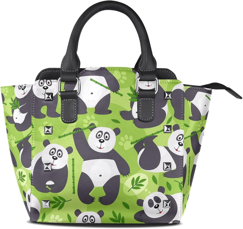 My Little Nest Women's Top Handle Satchel Handbag Panda Bear Bamboo Ladies PU Leather Shoulder Bag Crossbody Bag