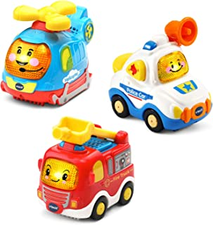 VTech Go! Go! Smart Wheels Starter Pack with Police Car, Fire Truck and Helicopter, Multicolor