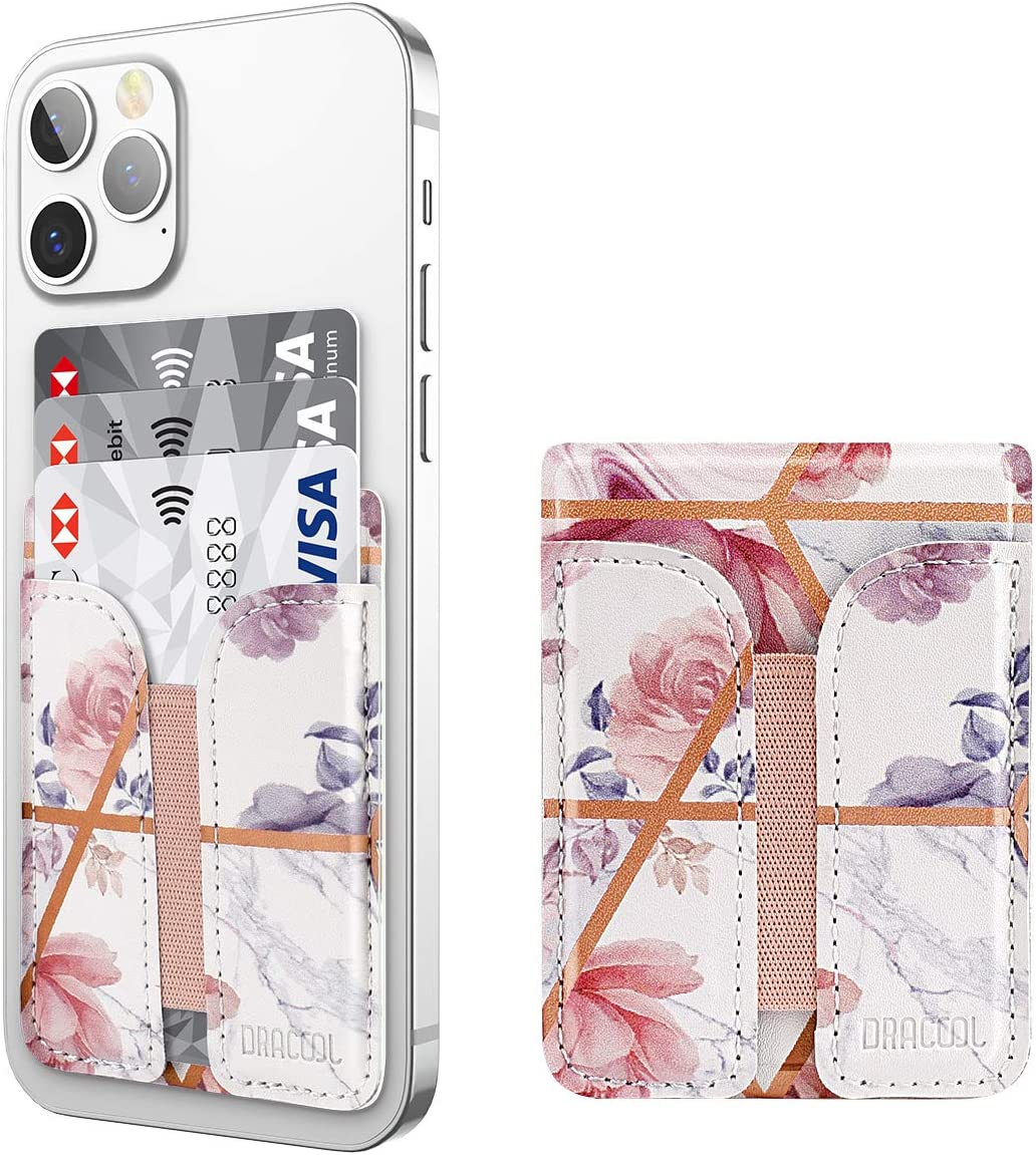 Dracool for Phone Card Holder Stick on Wallet ID Credit Card Holder Leather Stretchy with 3M Adhesive Sticker Phone Card Sleeve Pouch Pocket for iPhone Samsung Google All Smartphones Rose Gold Marble