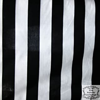 Stripe Extra-Large Black White Poly Cotton 58 Inch Fabric By the Yard (F.E.)