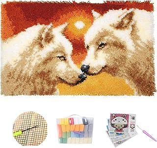 Crochet Loquet Coussin Complet Kit de Protection Loup Sunset Loquet Crochet Kits DIY Tapis Needlework Coussin pour Les Enf...