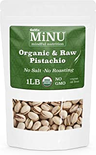 GoMix Raw Certified USDA Organic Pistachios, #1 Keto Paleo Snack, 16 oz (1 lb), In Shell, Unsalted, MiNU Mindful Nutrition, Superfood, Protein, Vegan, NonGMO, Gluten Free