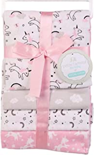 Petite L'amour 4 Pack Flannel Receiving Blankets - Girls Pink - Unicorn