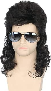 Topcosplay Men Wigs 80s Mullet Wig Black Curly Male Redneck Wig Halloween Costumes Punk Rocker Wig Long