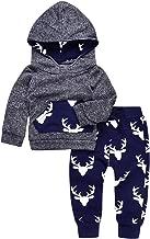 Angekids 2PCs Baby Deer Print Hoodies Pocket Top + Striped Long Pants Autumn Outfit Set
