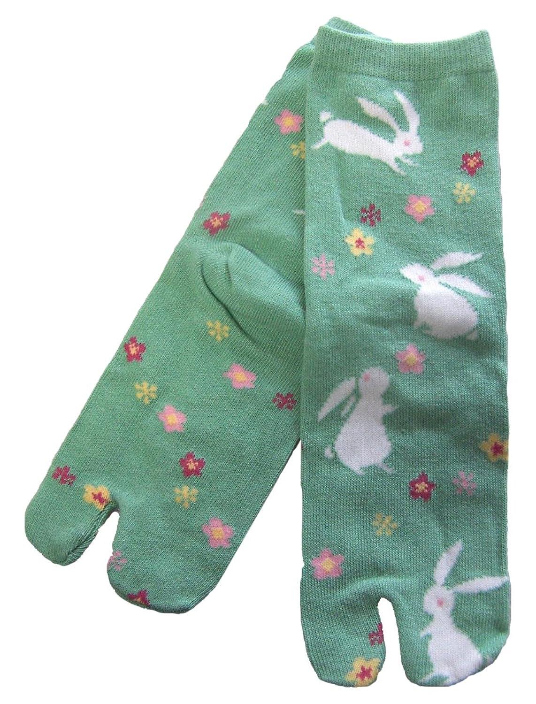 京都くろちく 文化足袋(うさぎに花散らし) 和柄足袋靴下