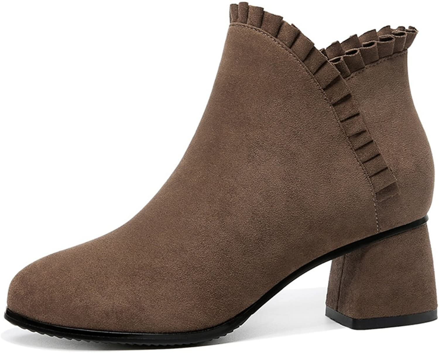 Lusam feeling Women's Classic Ankle Boots Fuax Furs Linning Side Zipper High Square Heel Bootie