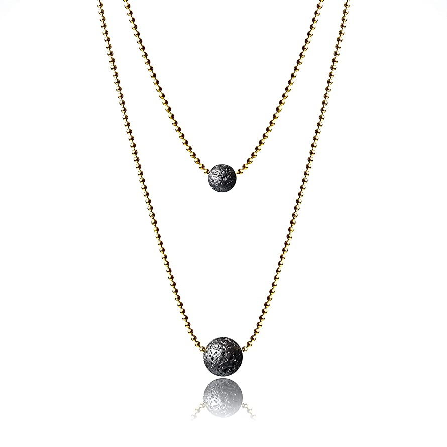 Essential Oil Jewelry - Lava Stone Diffuser Necklace with Extendable Stainless Steel Chain