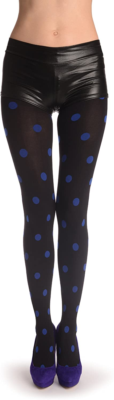 Blue Woven Polka Dots On Black - Pantyhose (Tights)