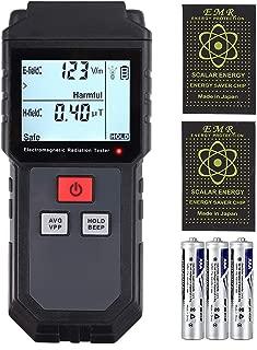 CAMWAY EMF Meter, Electromagnetic Field Radiation Detector Handheld Mini Digital Backlight LCD EMF Detector Sound and Light Alarm with 2pcs Anti Radiation Shield Sticker