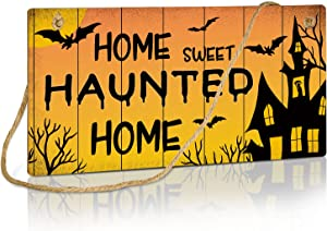 Putuo Decor Halloween Sign, Home Sweet Haunted Home, 10x5 Inches Hanging Plaque