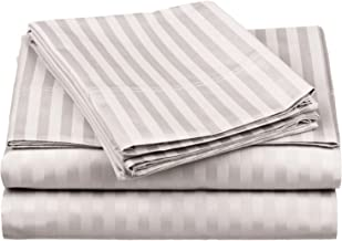 100% Egyptian Cotton 650 Thread Count Twin XL 3-Piece Sheet Set, Deep Pocket, Single Ply, Stripe, Silver